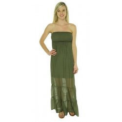GUESS Women's Smocked Silk Tube Maxi Dress size: M