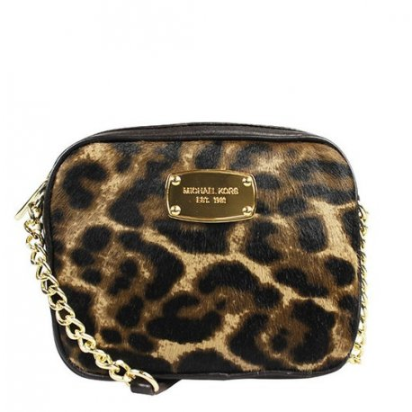 MICHAEL KORS HAMILTON Small Crossbody Haircalf Leopard 35H4GHMC1H