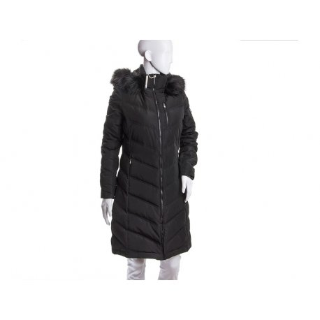 CALVIN KLEIN black feather coat XS