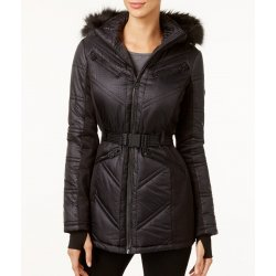 MICHAEL KORS Women's Faux-Fur-Trim Belted Stretch Knit Panels Coat size: S