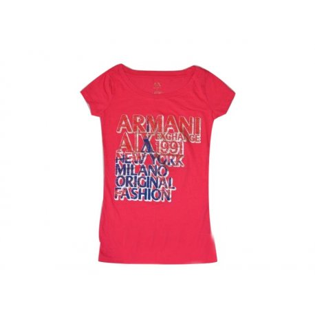 ARMANI EXCHANGE różowy T-shirt z USA 34 XS/S