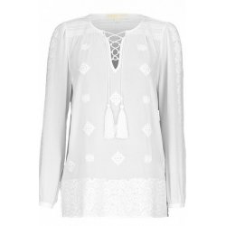 MICHAEL KORS Women's White Embellished Boho Georgette Top Blouse size: S
