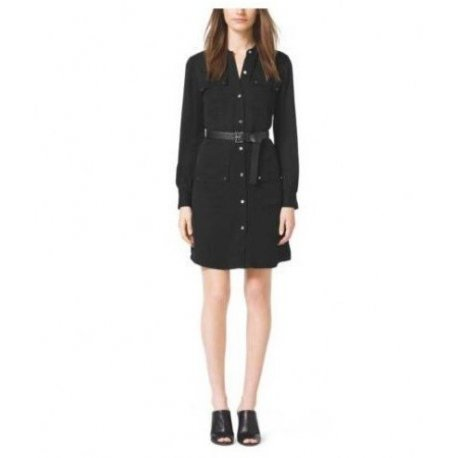 MICHAEL KORS Silk Belted Shirt Dress size: 4 MU58VHDVY0