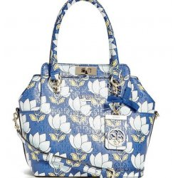 GUESS MALENA FLORAL TURN LOCK SATCHEL, HANDBAG