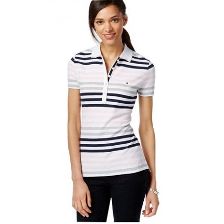 TOMMY HILFIGER striped polo shirt with a logo XS / S