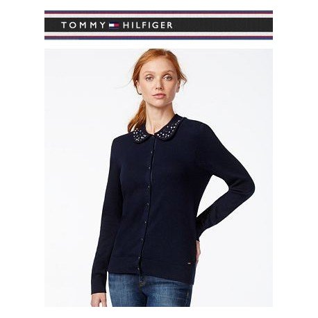 TOMMY HILFIGER cardigan decorated with L / XL collarTOMMY HILFIGER cardigan with rhinestone embellishments at collar L