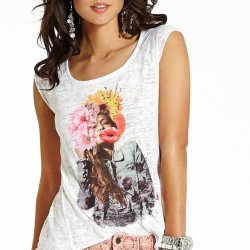 GUESS T-shirt Sideway Gathered Back Burnout Top