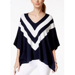 TOMMY HILFIGER STRIPED PONCHO, SWEATER
