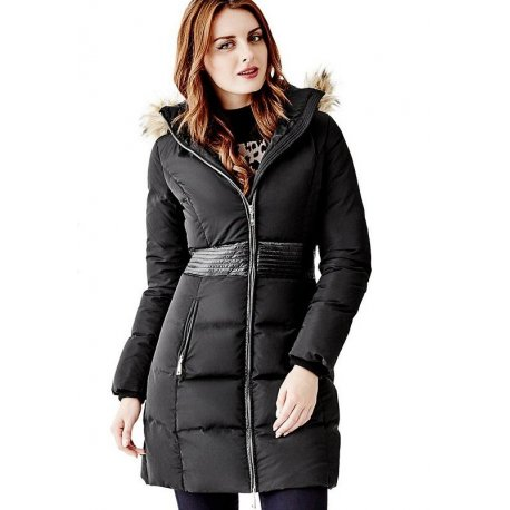 GUESS Women's Long Puffer Jacket with Faux-Fur Hood size: MEDIUM