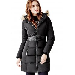 GUESS Women's Long Puffer Jacket with Faux-Fur Hood size: SMALL