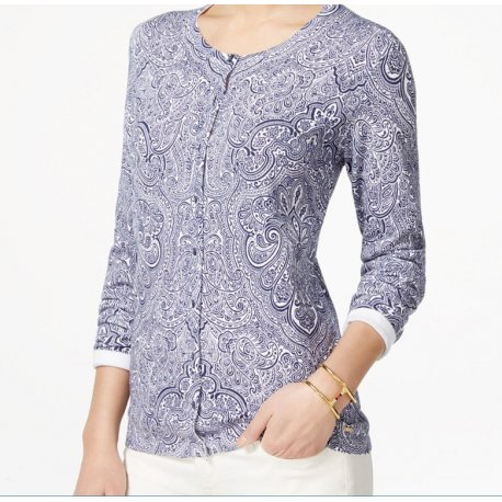 TOMMY HILFIGER paisley cardigan sweater S