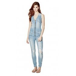 GUESS Women's MAXINE ZIP-UP DENIM JUMPSUIT size: 4