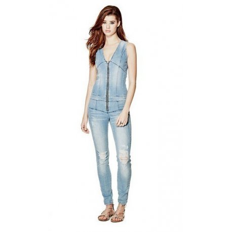 GUESS Women's MAXINE ZIP-UP DENIM JUMPSUIT size: 2