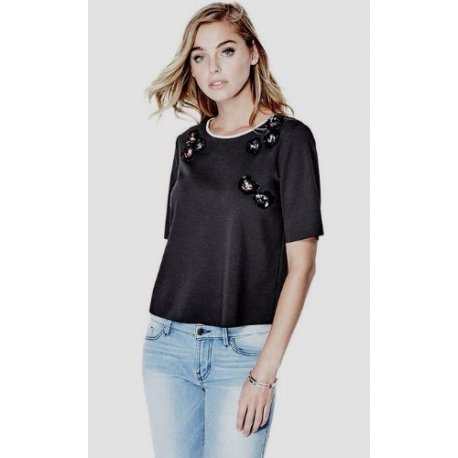 GUESS Women's Short Sleeve Embellished Tee size: MEDIUM