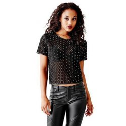 GUESS Women's Short Sleeve Circular Lace Top size: X-SMALL