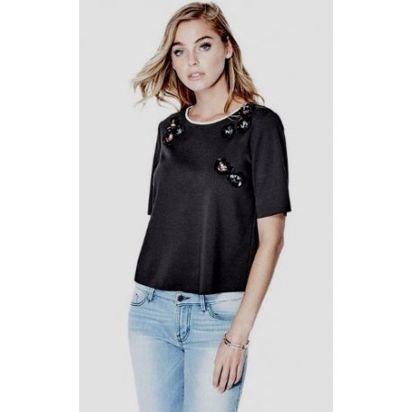 GUESS Women's Short Sleeve Embellished Tee size: SMALL
