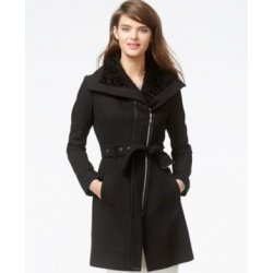 GUESS winter wool coat with fur XS