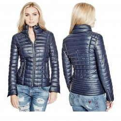 GUESS Retro Faux-Leather and Denim Blazer XS / S