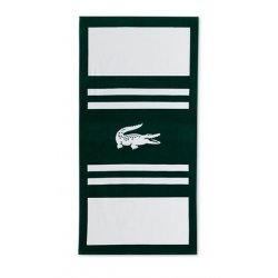 "LACOSTE Pop Cotton Stripe Logo-Print 36"" x 72"" Beach Towel"