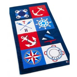 "TOMMY HILFIGER Cotton 35"" x 66"" Boating Motif Beach Towel"