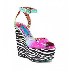 JIMMY CHOO conffeti pattent, zebra glitter, panda leather wedges 37