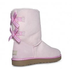 UGG Bailey Bow Gingham Seashell Pink Boots size: 5