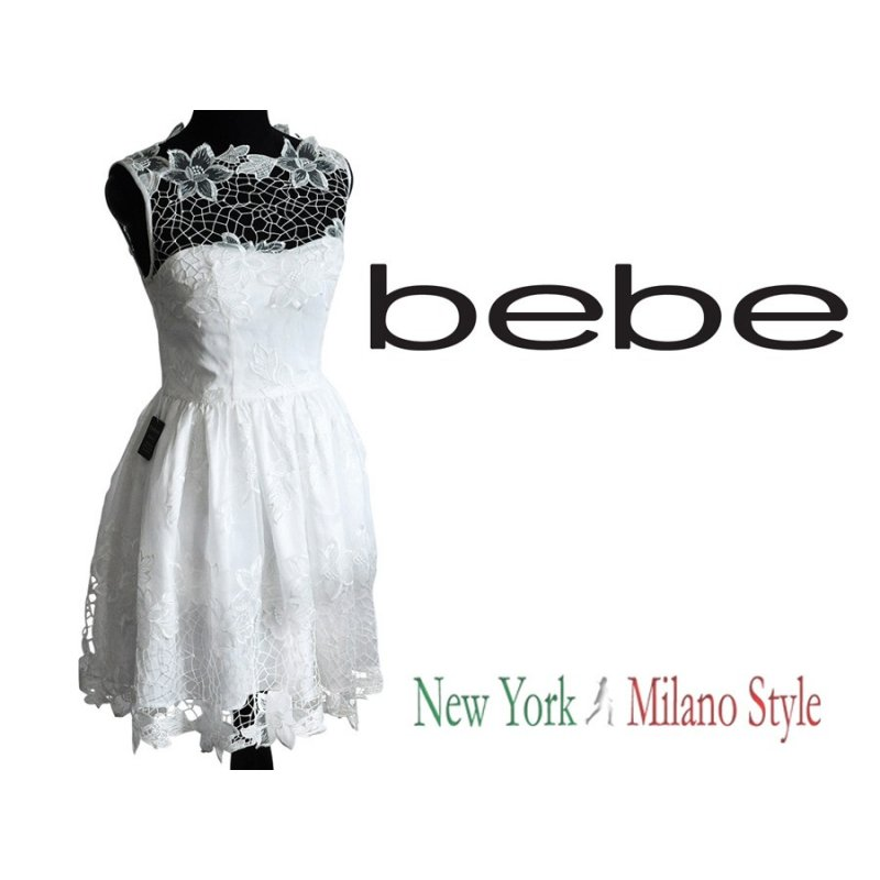 Bebe White Dress With Organza And Lace S 4us