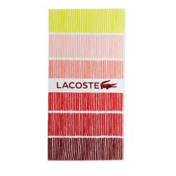 "LACOSTE Cocktail Cotton Stripe Logo-Print 36"" x 72"" Beach Towel"
