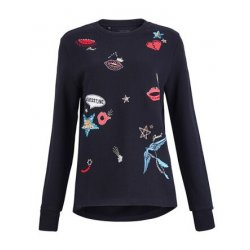 GUESS Women's Sequin Embroidered Sweatshirt size: M