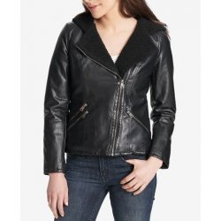 Levi's® Women's Asymmetrical Faux Leather Sherpa Lined Hooded Moto Jacket size: M