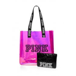 VICTORIA`S SECRET / PINK Iridescent Jelly Tote + Pouch