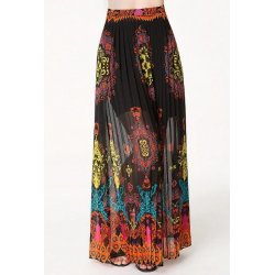 BEBE Lantern Printed Pleated Maxi Skirt size 0