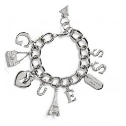 GUESS Women's Silver-Tone Charm Bracalet