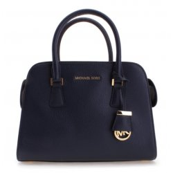 MICHAEL KORS HARPER Medium Leather Satchel NAVY