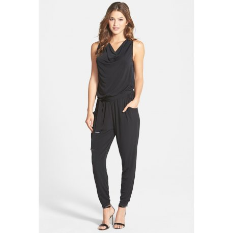 MICHAEL KORS Belted Sleeveless Cowl Neck Jumpsuit size: P/S