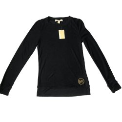 MICHAEL KORS Women's Waffle Knit Long Sleeve Tee, T-shirt, NEW NAVY size: S