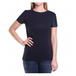 MICHAEL KORS Women's Faux Leather Sleeve Top, T-shirt size: XS