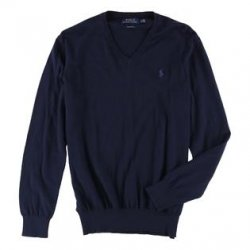 POLO RALPH LAUREN Men's V-neck Pima Cotton Sweater Navy size: XL