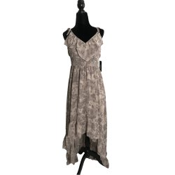 GUESS Women's Solid Chiffon High-Low Maxi Dress Animal Print size: S