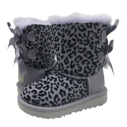 UGG Toddler Girl Purple EXOTIC BAILEY BOW II Boots Leopard Sheepskin size: 8
