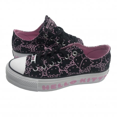 CONVERSE Women's Chuck Taylor All Star Clean Lift Ox HELLO KITTY Sneakers Leather size: 7