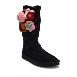 UGG Women's Classic Floral Crochet Genuine Shearling Boot size: 7