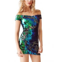 GUESS Off-The Shoulder Mermaeid Sequin Dress size: 4