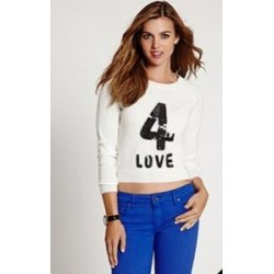 GUESS Women's Long-Sleeve 4 Love Angora-Blend Sweater size: SMALL