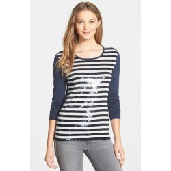 MICHAEL KORS Women's Sequins Striped Long Sleeves Tee, Tishirt size: XS
