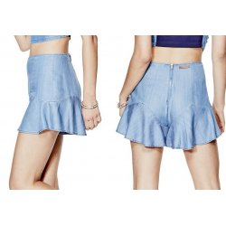 GUESS Women's Chambray Flounce Hem Flared Skort Shorts size: 2
